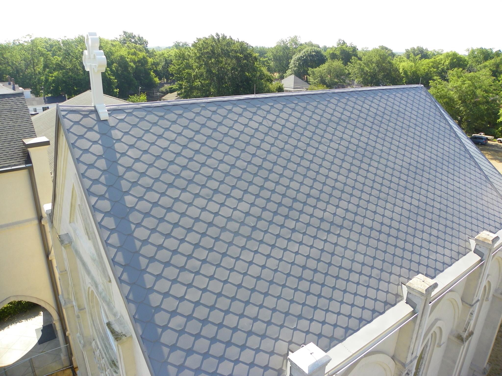 Annunciation Catholic Church Restoration New Roof Is Single Metal Tiles Same Atas Product As We Installed Historic Renovation Roofing Columbus Mississippi