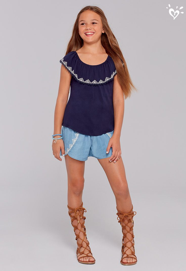 b5fe35edc1744 A little boho, a lot cute! | Justice Shorts | Girls fashion clothes ...