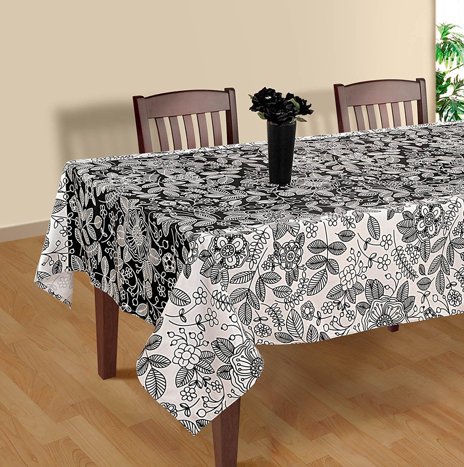 Black And White Modern Floral Rectangular Tablecloth   60 X 120 Inches  Cotton Table Cloth Cover For Tables    You Can Get More Details Here :  Christmas ...