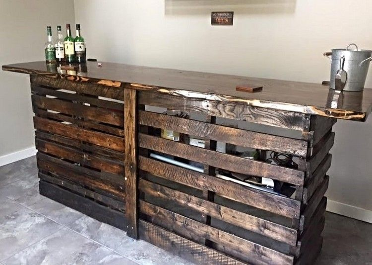 Pallet Indoor Bar and Wine Rack … | Pinteres…