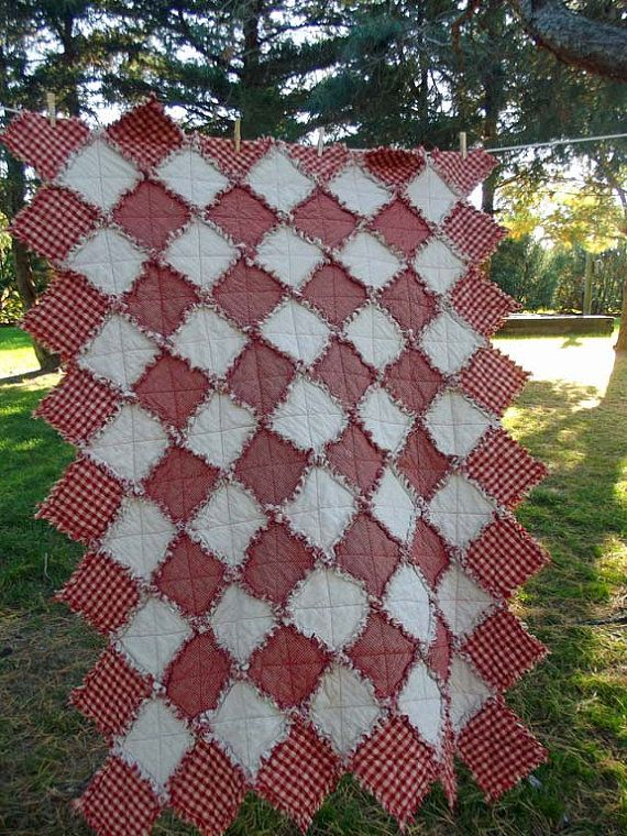 Candy Cane Christmas Rag Quilt Throw Size By