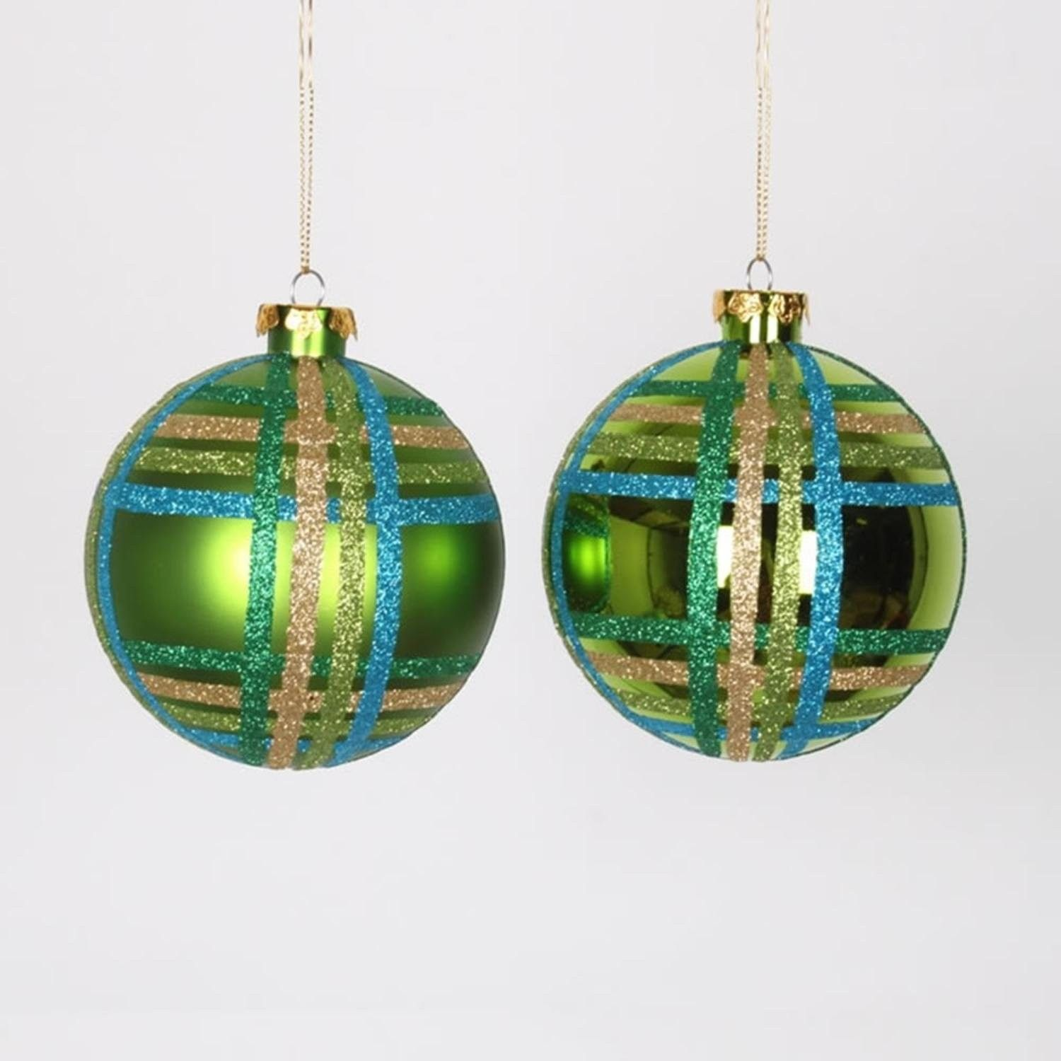 4ct Lime Green W Blue Green Gold Glitter Plaid Shatterproof Christmas Ball Ornaments 4 100mm Cs11papq50z Green Christmas Decorations Ball Ornaments Christmas Ornaments