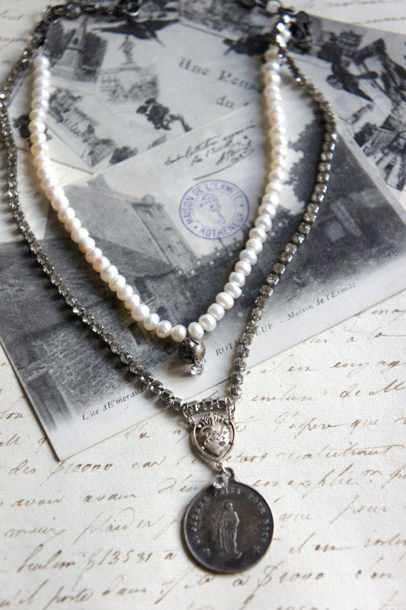 St pierre vintage assemblage necklace french st peter medal pendant st pierre vintage assemblage necklace french st peter medal pendant by french feather design aloadofball Images