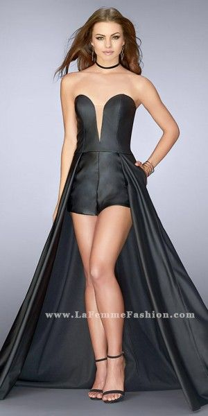8ff80806d0 Strapless Vegan Leather Romper with Overskirt Prom Dress by La Femme ...