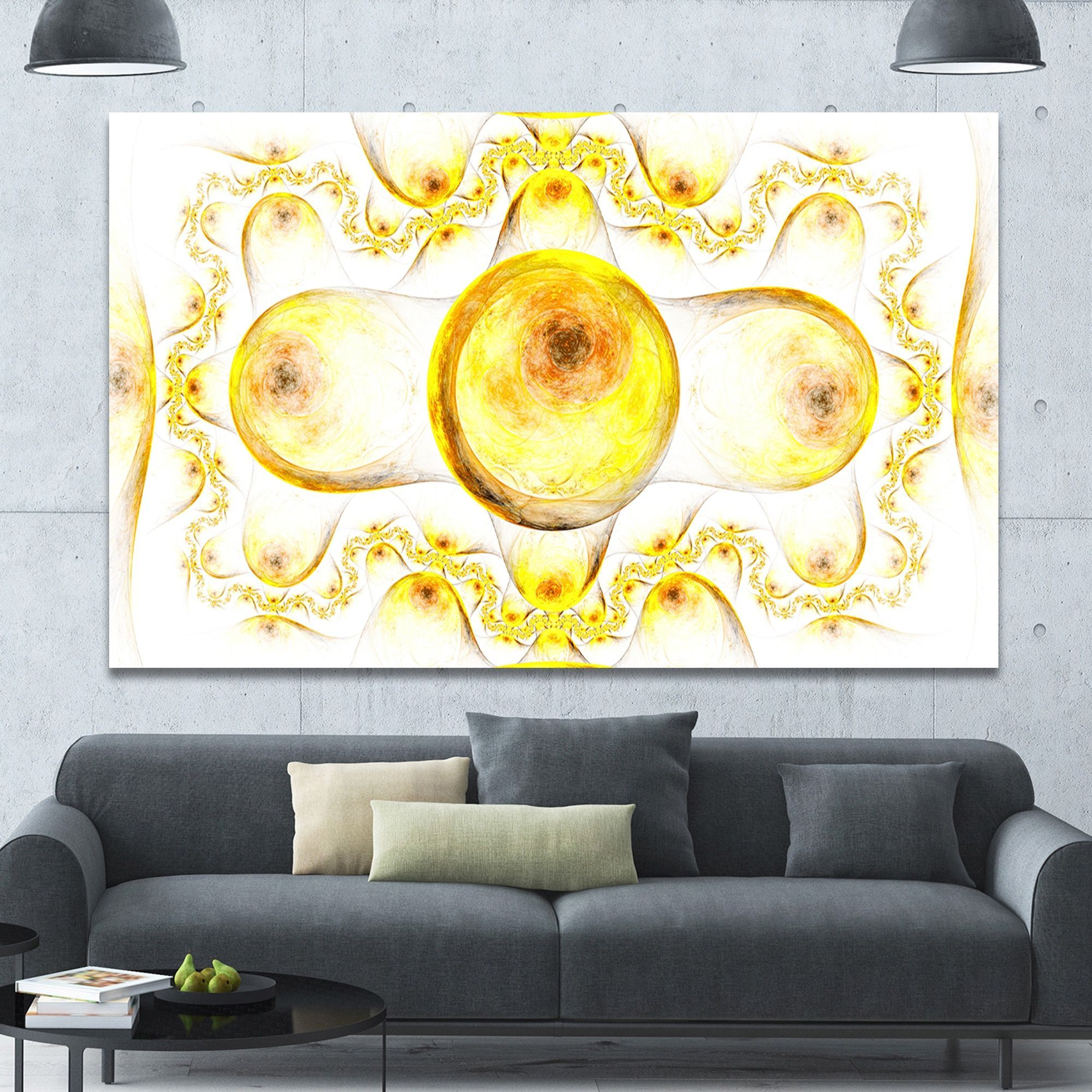 Designart \'Yellow Exotic Pattern on White\' Abstract Art on Canvas ...