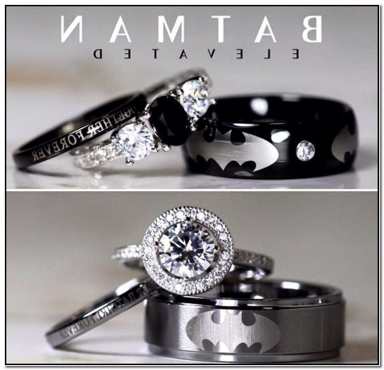 Batman Wedding Ring Set Marvel Throws Shade At Batman Wedding With Fantastic Four Wedding Announcement Band Etsy Deco