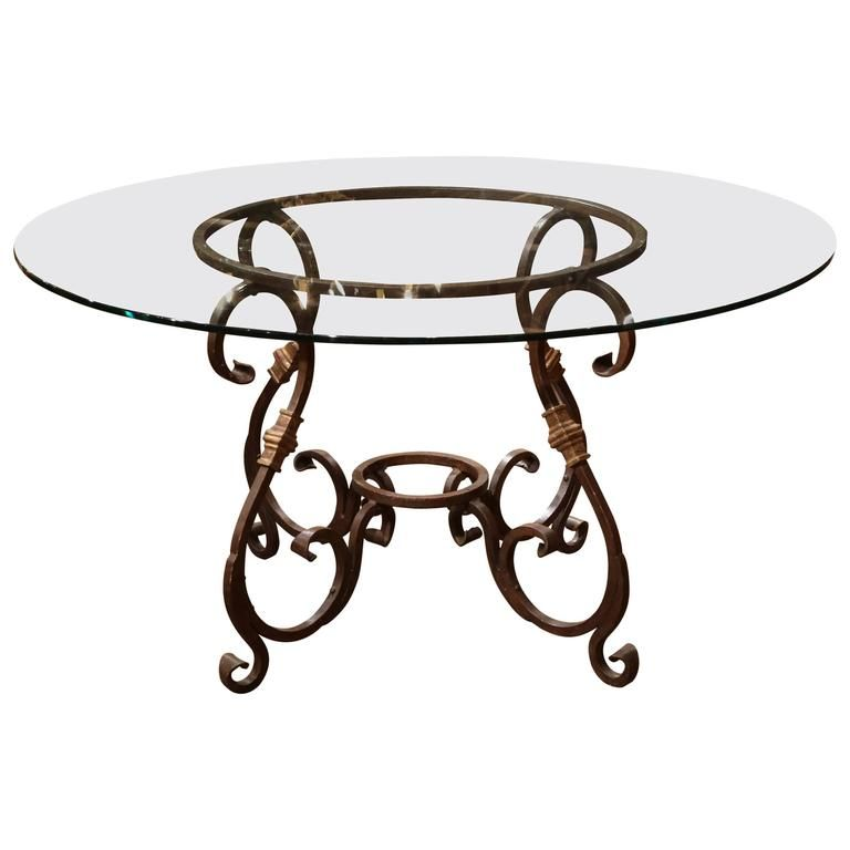 Wrought Iron French Table Base With Round Glass Top 1 Mesas De
