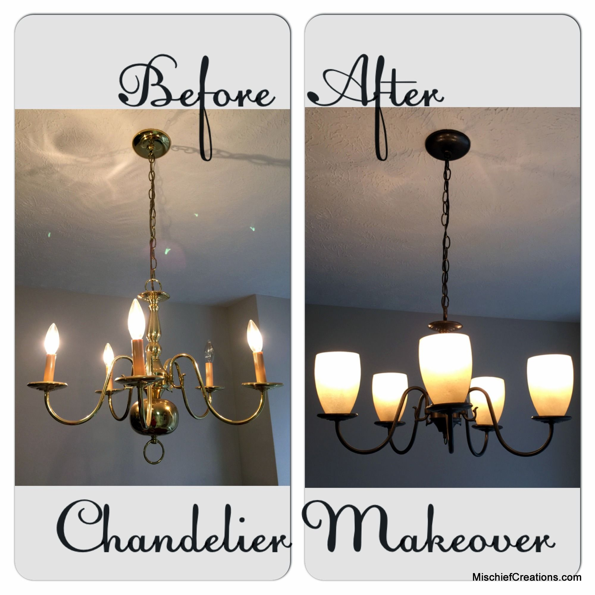 Brass chandelier makeover mischief creations pinterest brass chandelier makeover - Can light chandelier ...