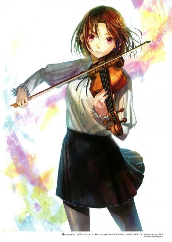 Manga Mädchen mit Geige ... schwarzer Rock | Manga/Musik ...