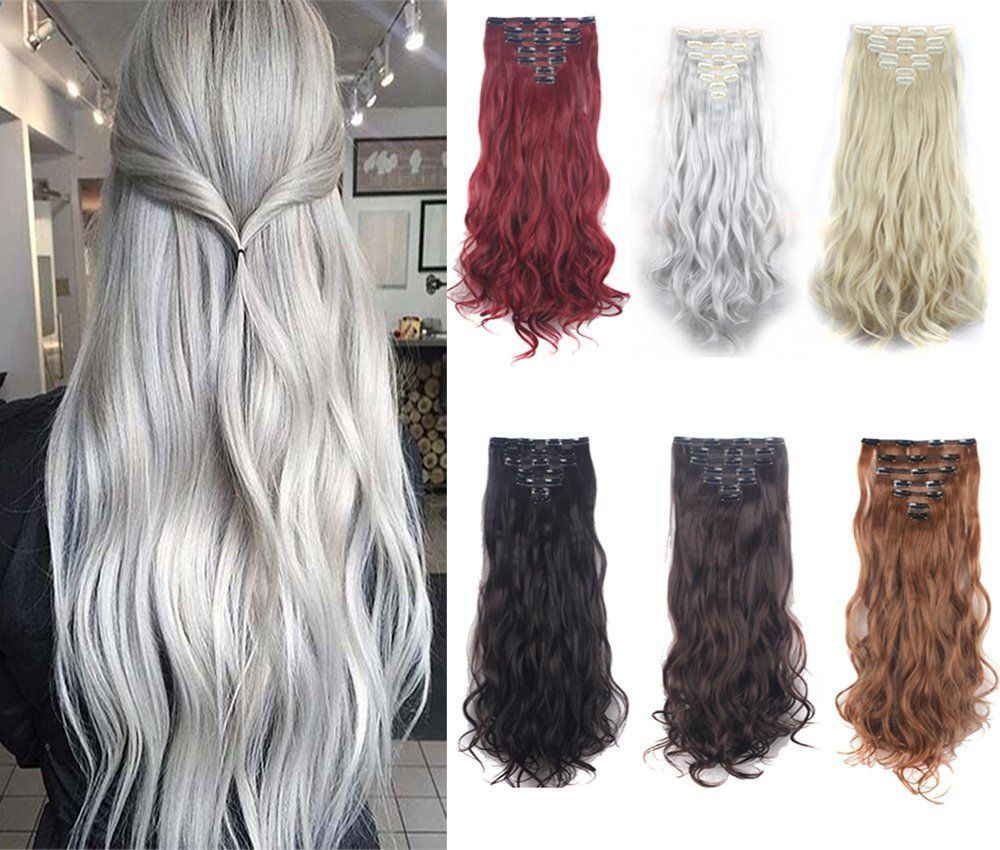 DODOING 7PCS 24 inches Highlight Wavy Curly Double Weft