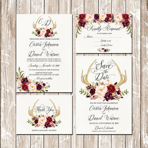 Printable Fall Winter Wedding Invitation by HappyLifePrintables