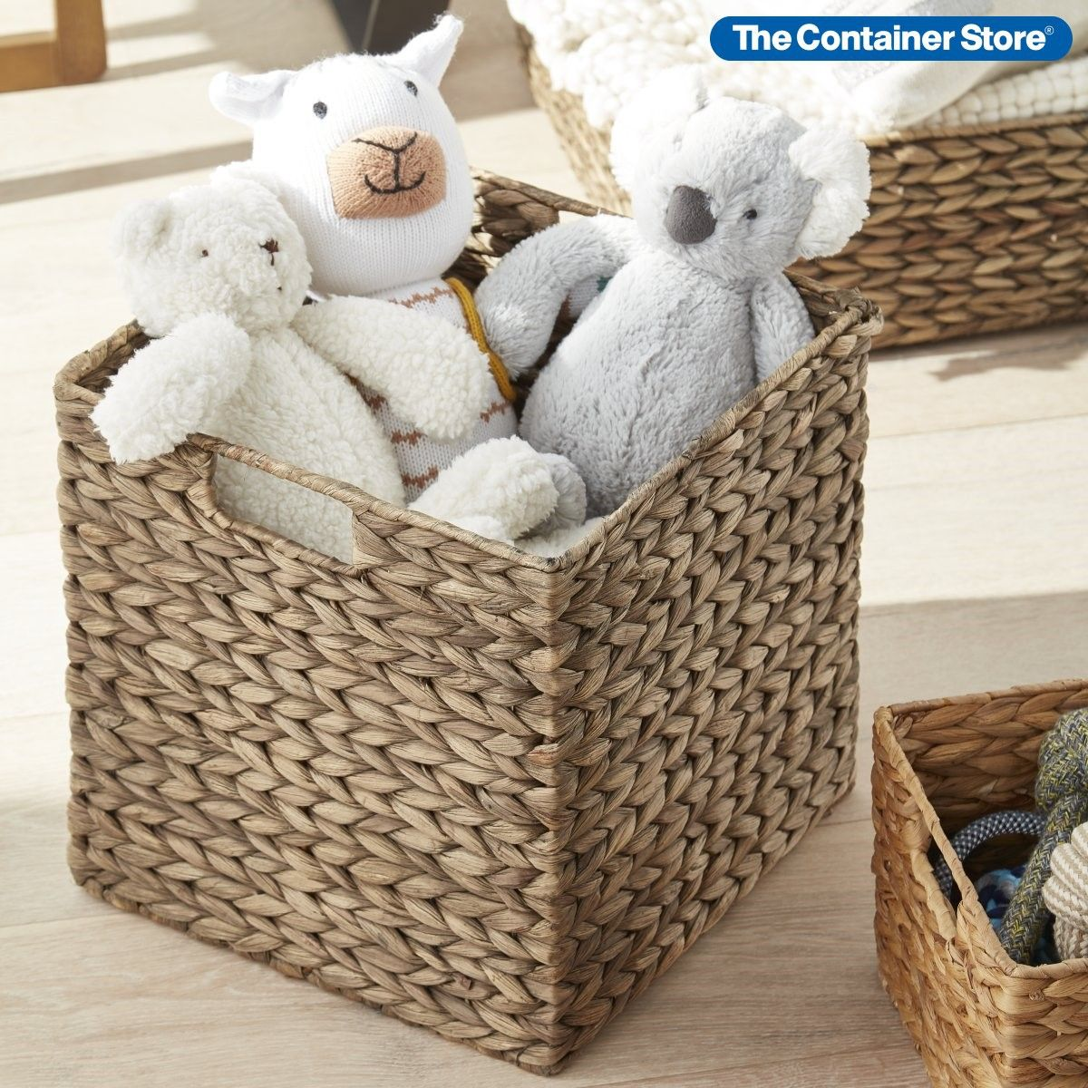 Mocha Water Hyacinth Storage Cubes With Handles In 2020 Cube Storage Toy Storage Cubes Fabric Storage Cubes