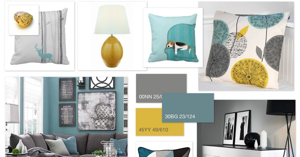 Grey Teal Ochre Scheme For Living Room And Black Liv