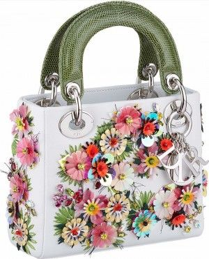 339a8281ae60 Dior White Floral Embellished Lady Dior Bag with Green Python Handles