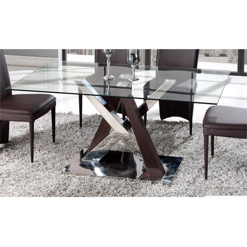 Lowest Price Online On All Global Furniture Glass Top Dining Table In Wenge And Chrome D4100dt Glass Dining Table Cheap Dining Room Sets Dining Table