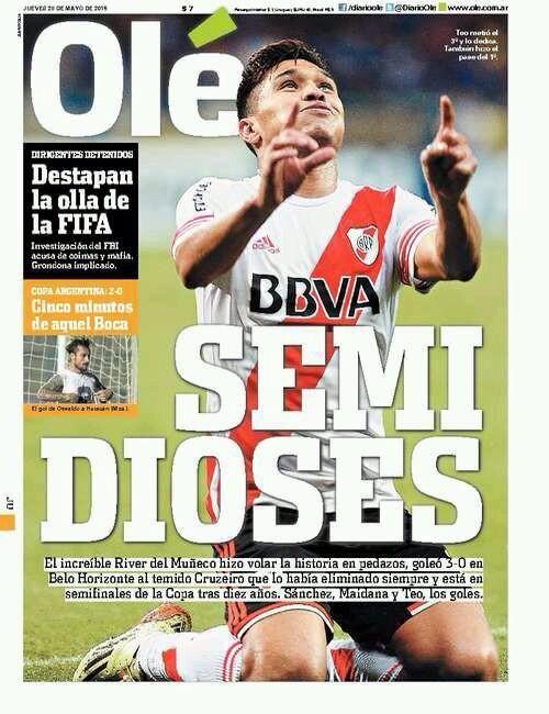 Tapa del Diario Olé:  RIVER en semifinal de la Copa Libertadores!