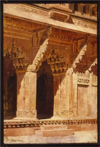 Curiously Wrought Red Sandstone Arches, Fort Agra, India - Edwin Lord Weeks