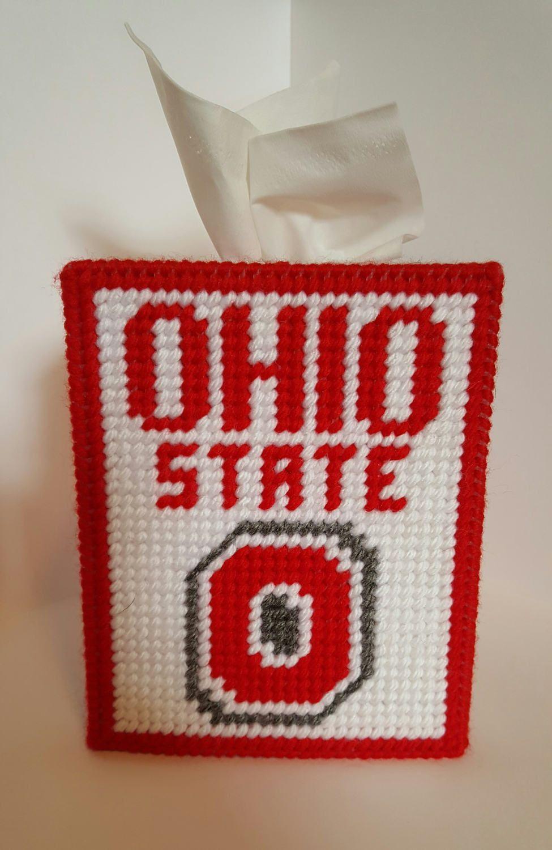 Ohio State   Plastic Canvas Tissue Box Cover   Handmade   Square Kleenex  Cover   Bathroom