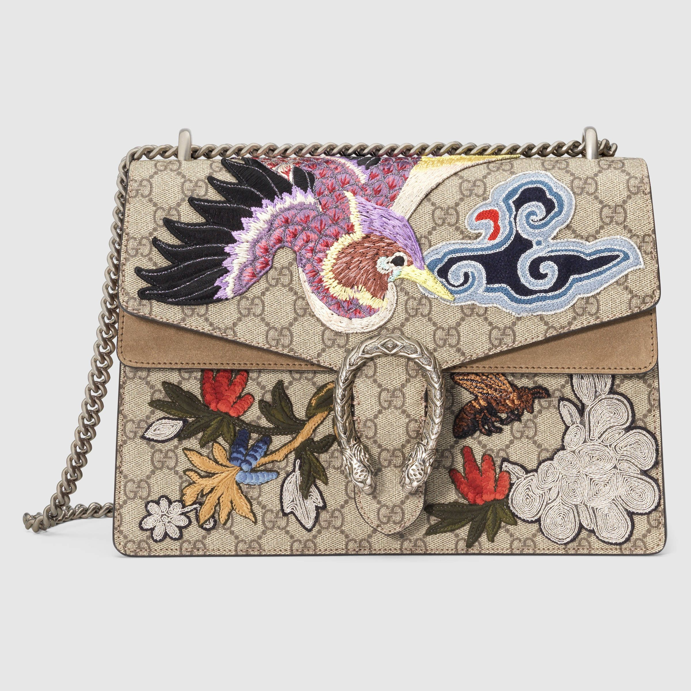 ec0532ea9ac Gucci Women - Gucci Beige Ebony Dionysus w Bird and Flowers GG Supreme  Canvas w taupe suede sides shoulder bag  3