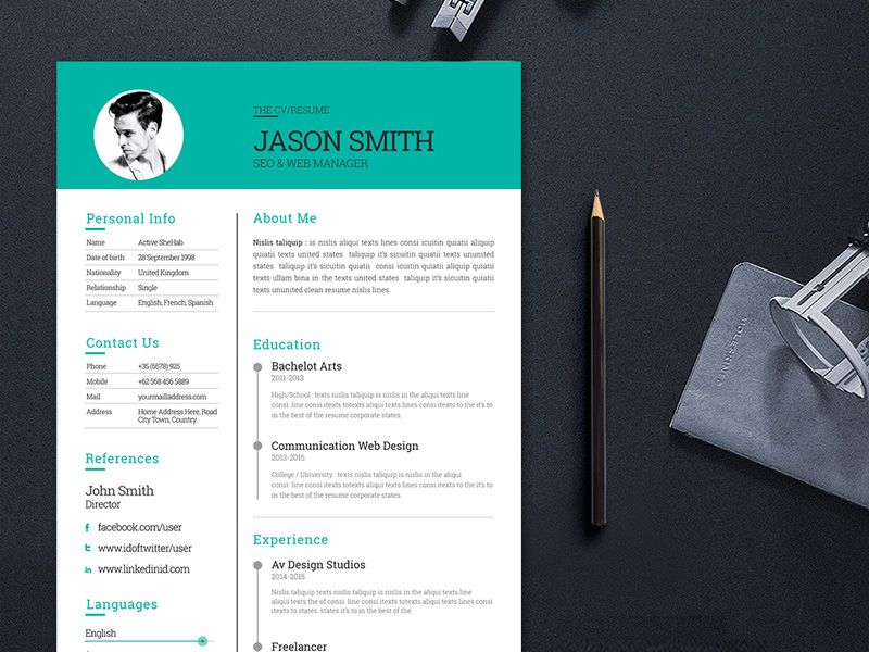 Free Modern and Clean CV Template for Job Seeker