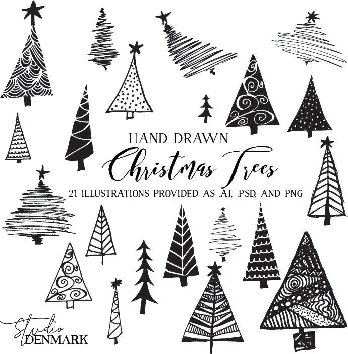 Christmas Trees Vector Clipart Holiday Clip Art Hand Drawn Etsy Christmas Drawing Holiday Clipart Christmas Tree Clipart