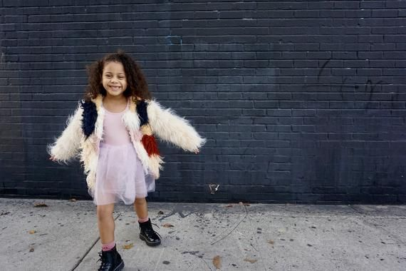 Girls patchwork Mongolian Fur Coat Jacket // Peach Pink Rust Navy with Cream Sleeves // 3t 4t 5t Bab