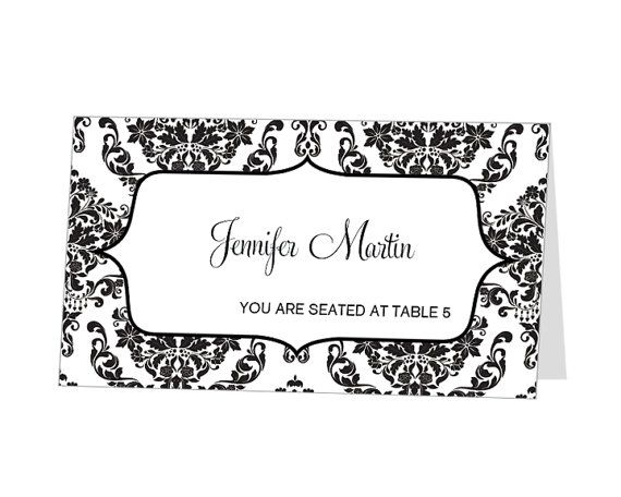 Instant Download Avery Place Card Template Damask By 43lucy 9 95 Place Card Template Wedding Place Card Templates Free Place Card Template