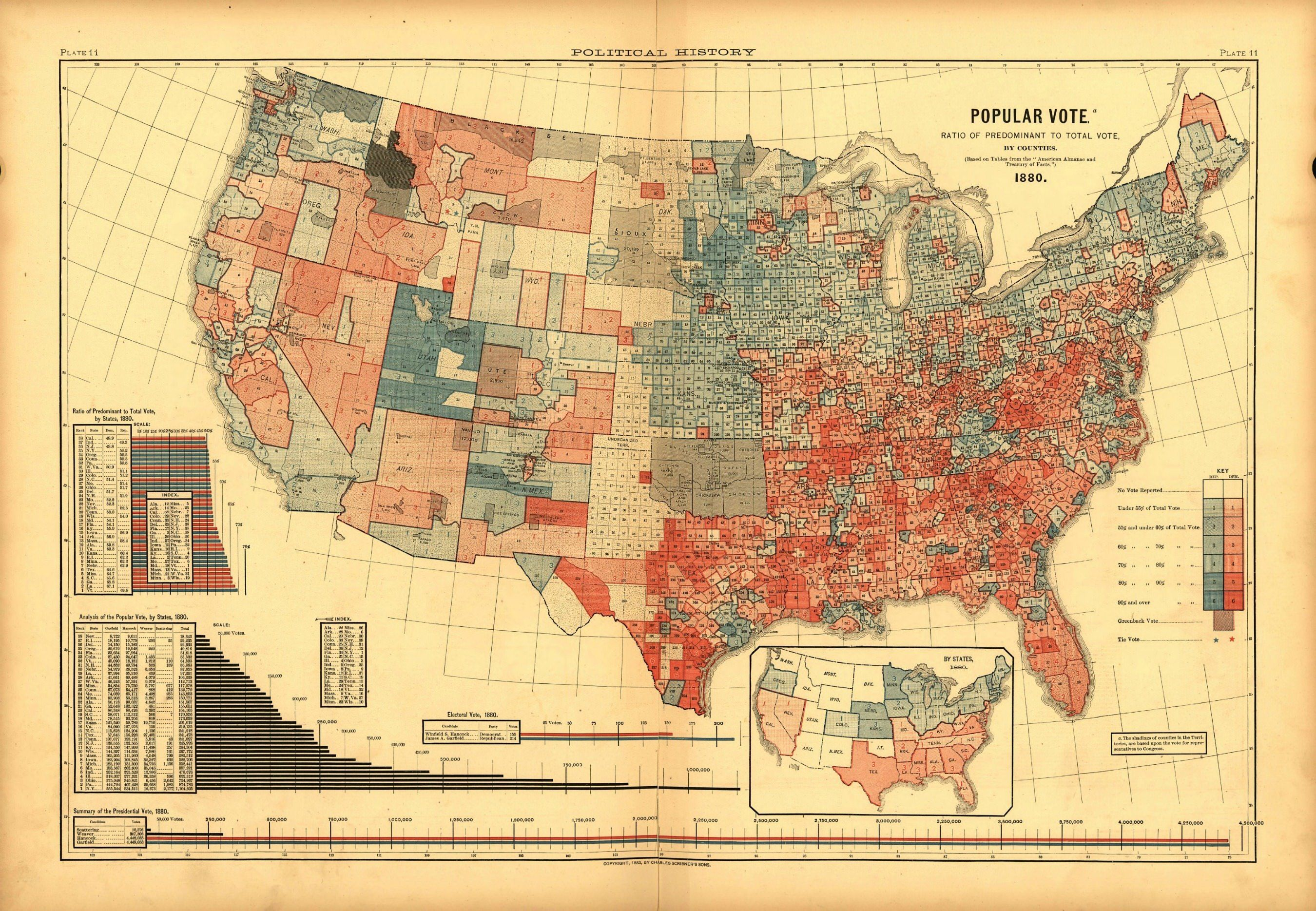 1880 United States presidential results by county (published 1883 ...