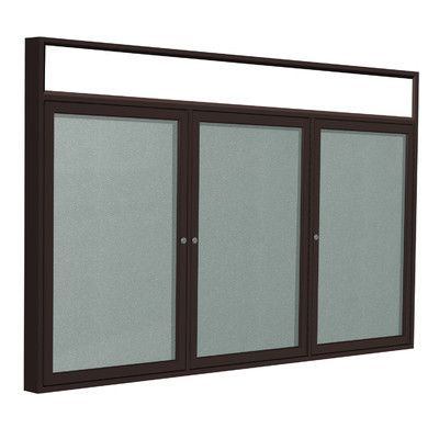 Ghent 3 Door Outdoor Enclosed Bulletin Board Size: 4' H x 8' W, Frame Finish: Bronze, Surface Color: Silver