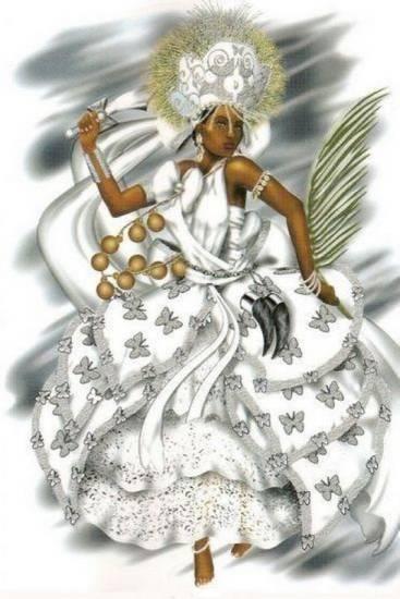 """Oyá Igbalé (Ọya do balé) es el nombre usado por el pueblo santo por estar ligada y su dominio del cementerio (""""igbale"""" ou """"balé""""), después que Omolú le ofreció un pedazo de su poder para guiar a los ancestros Egungun . Vestida de blanco, con su irukerê es encargada de separar los vivos de los muertos y adorado por todos, venerada en el ritual (iku) axexe ."""