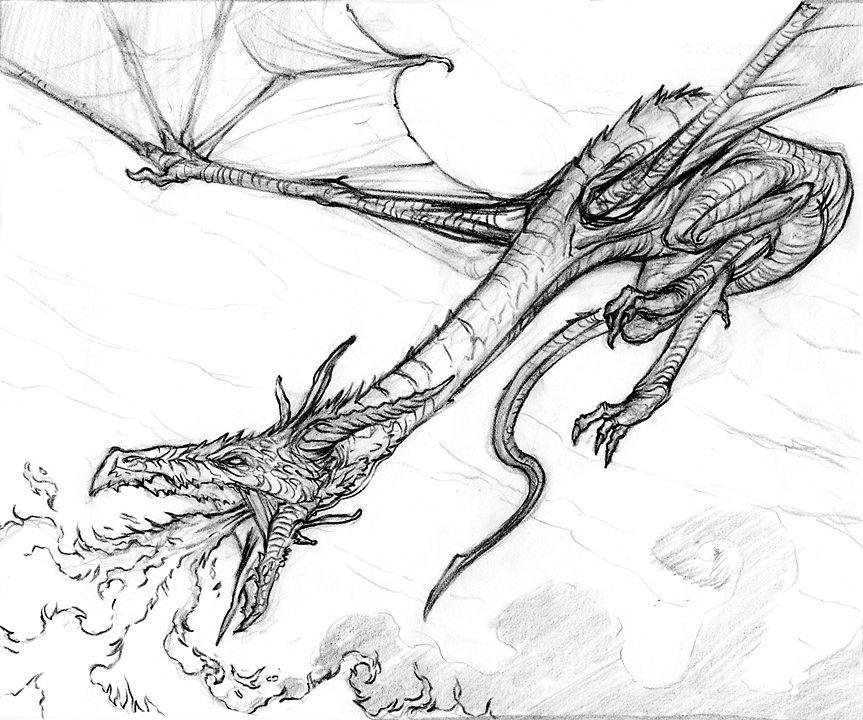 Dragon Breathing Fire Dragon Drawing Baby Dragons Drawing