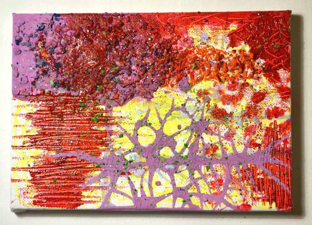 Original Abstract Psychedelic Modern Texture Painting,Purple,Neon Pink,Home Gift