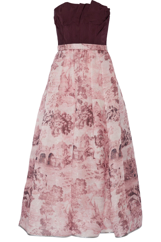 Oscar De La Renta Woman Printed Duchesse-satin Dress Dark Purple Size 4 Oscar De La Renta 48bTF