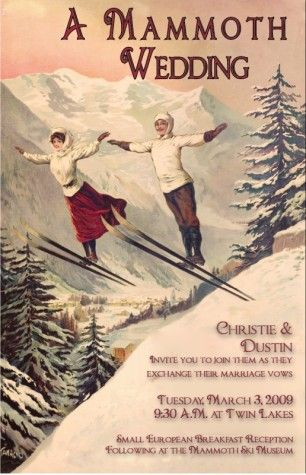 Vintage ski wedding invitation