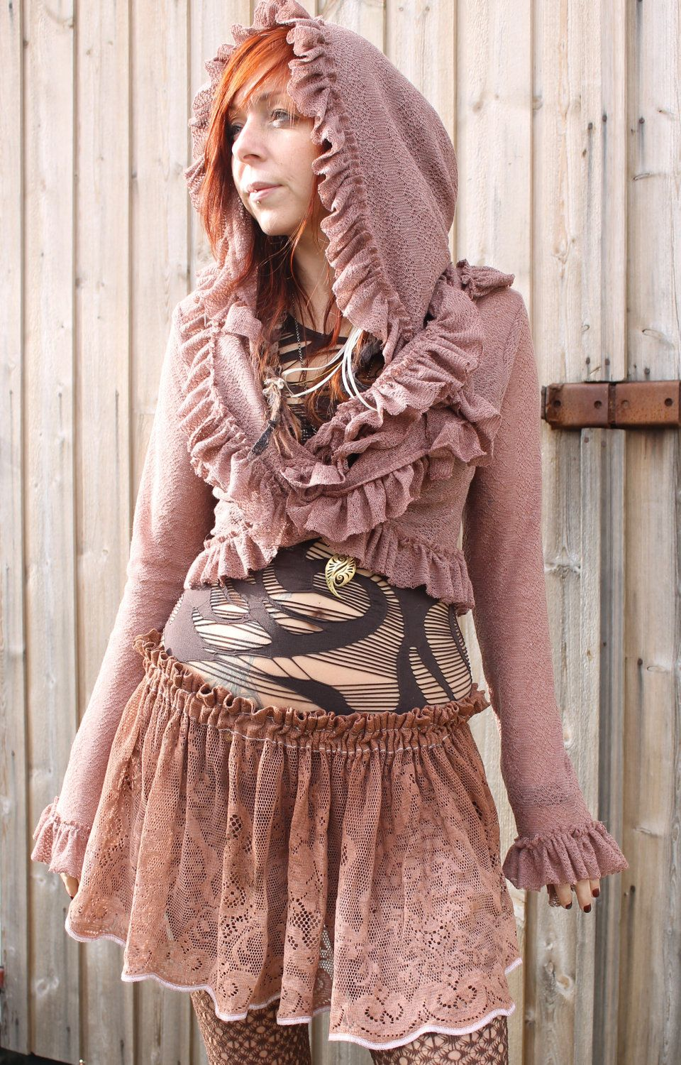 cotton lace mini skirt tutu skirt in dusty rose brown hand dyed colour. €39,00, via Etsy.