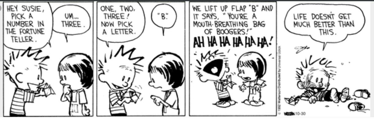 Image result for calvin and hobbes fortune teller