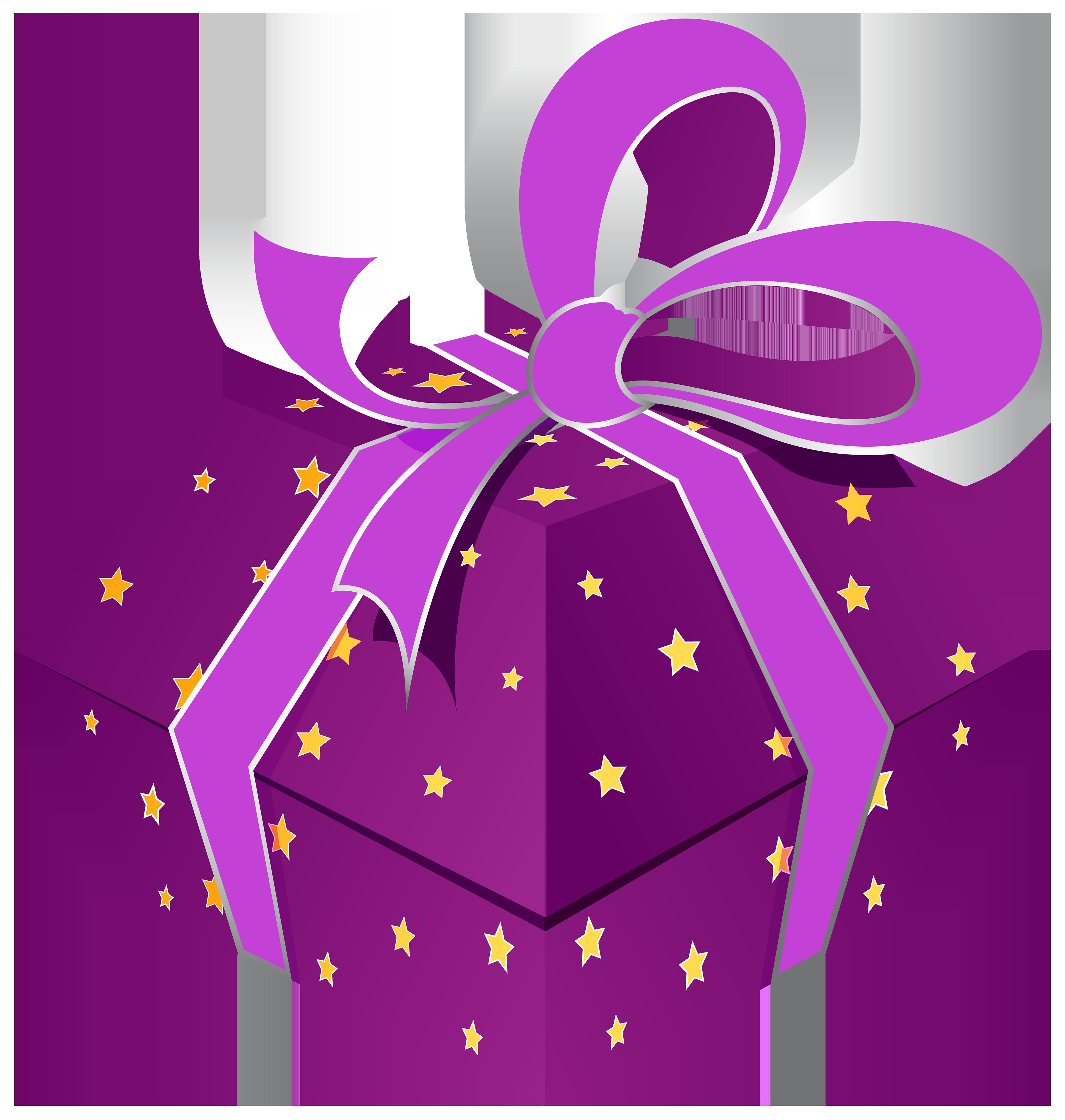 กล่องของขวัญสีม่วงพร้อมดาว PNG ภาพตัดปะ