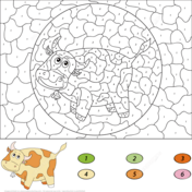Cow Color By Number Coloring Page Coloring Pages Cow Colour Free Coloring Pages
