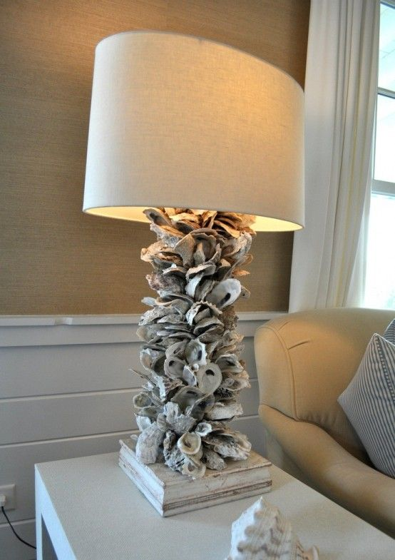58 Awesome Sea Inspired Furniture Pieces Oyster Shells Decor Shell Decor Shell Lamp