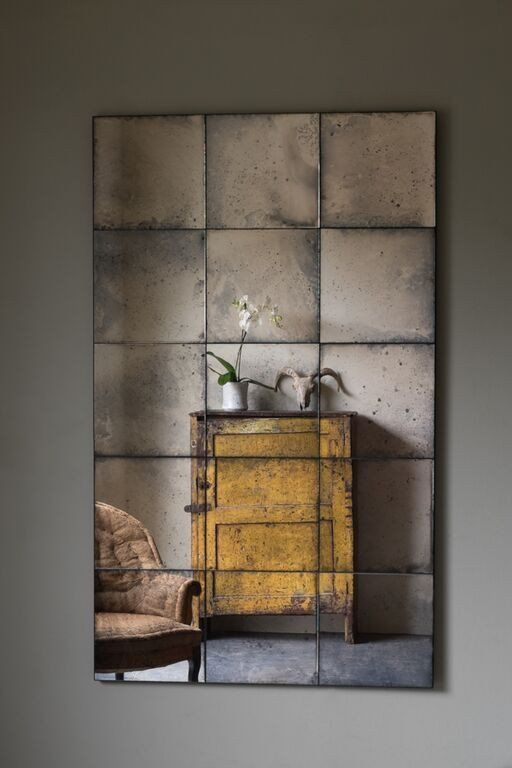 Lola Frameless Antiqued Panelled Mirror Antique Mirror