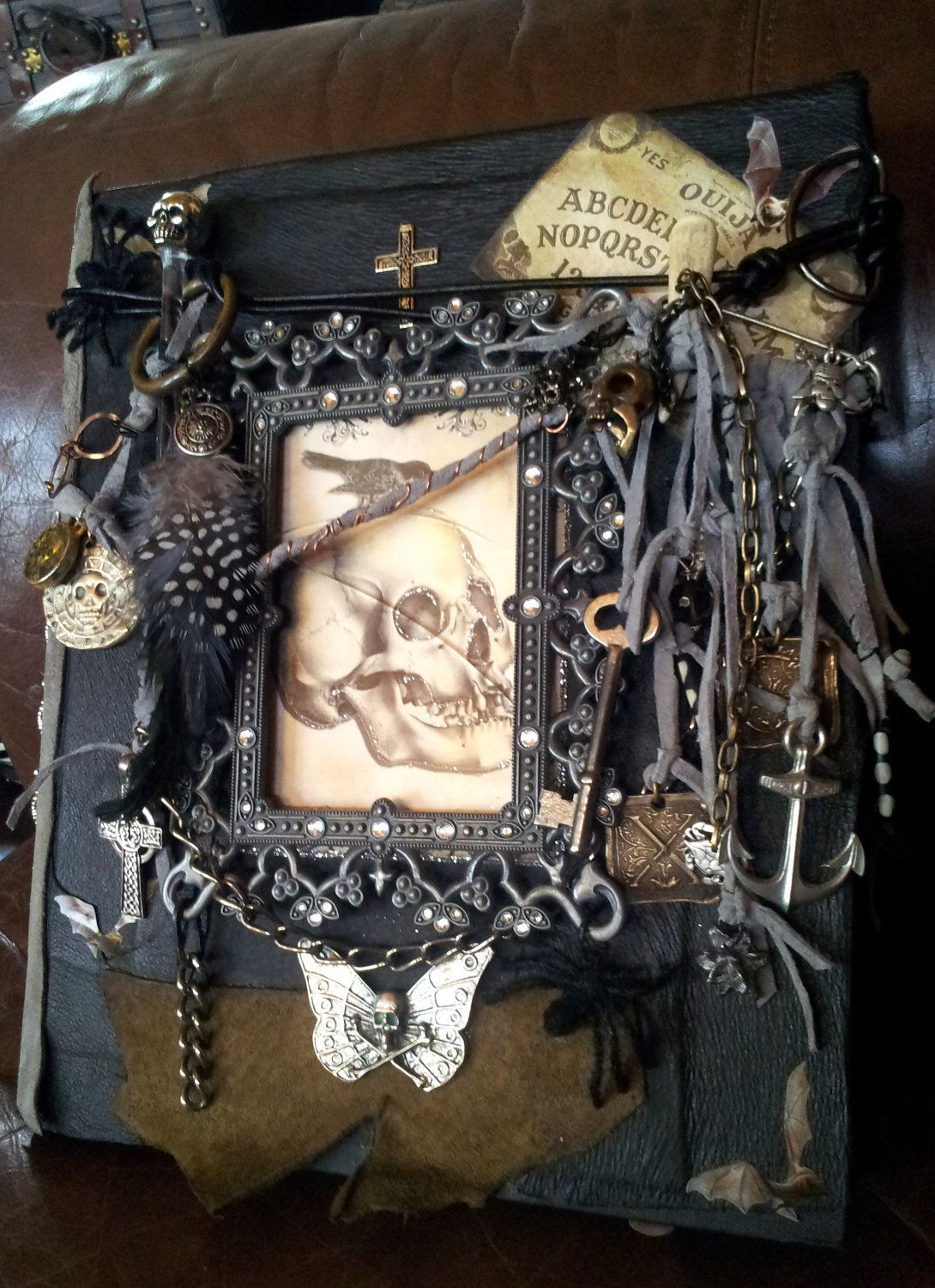 Handmade leather bound charmed skull pirate spell witchcraft handmade leather bound charmed skull pirate spell witchcraft display coffee table book geotapseo Gallery