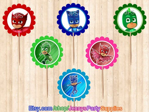 This listing is for a set of 12PCS of PJ Masks Cupcake Toppers Only. Goody bag stickers, bubble wand favors, centerpieces, and birthday