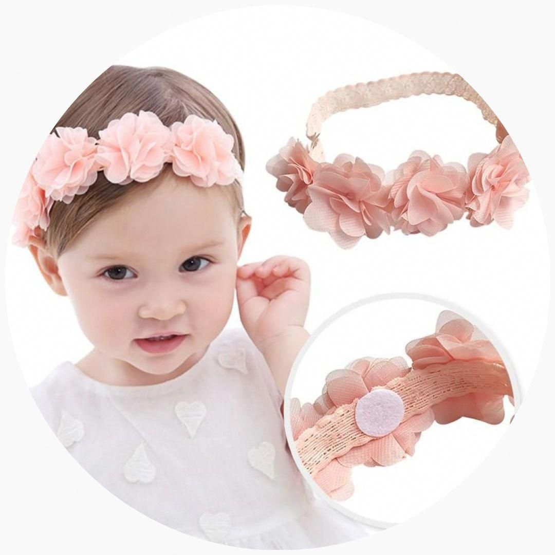Baby Flower Headband Pink Ribbon Hair Bands Handmade DIY Headwear Hair accessories for Children Newborn Toddler #hairbands