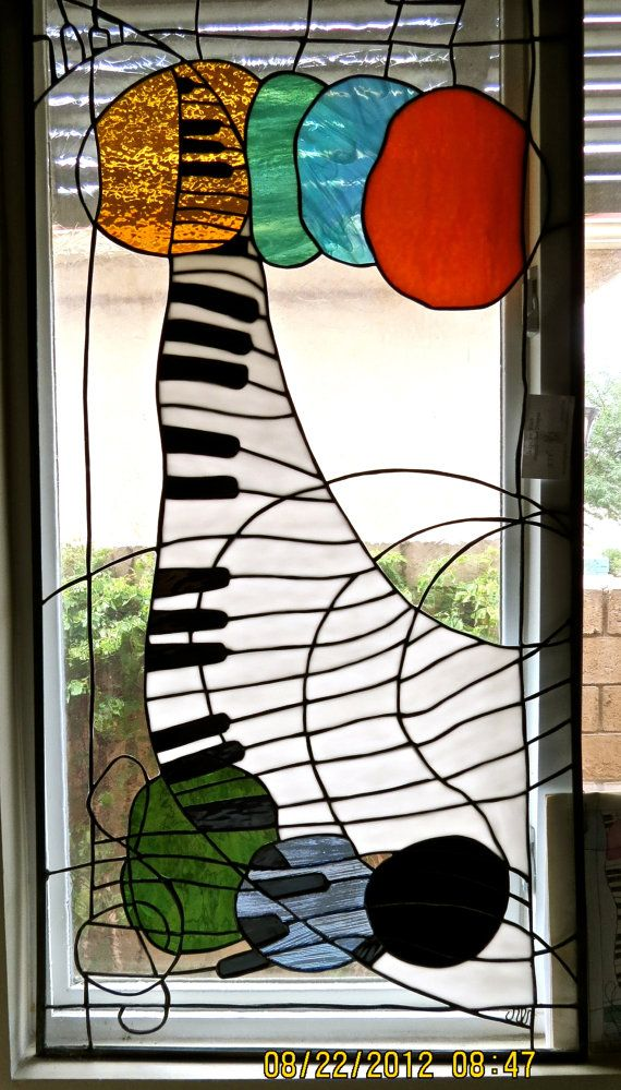 Pair Stained Glass Music Panels Fantasy Modern white black blue green gold piano bass on Etsy, $900.00