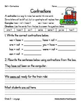 39+ Free contraction worksheets Education