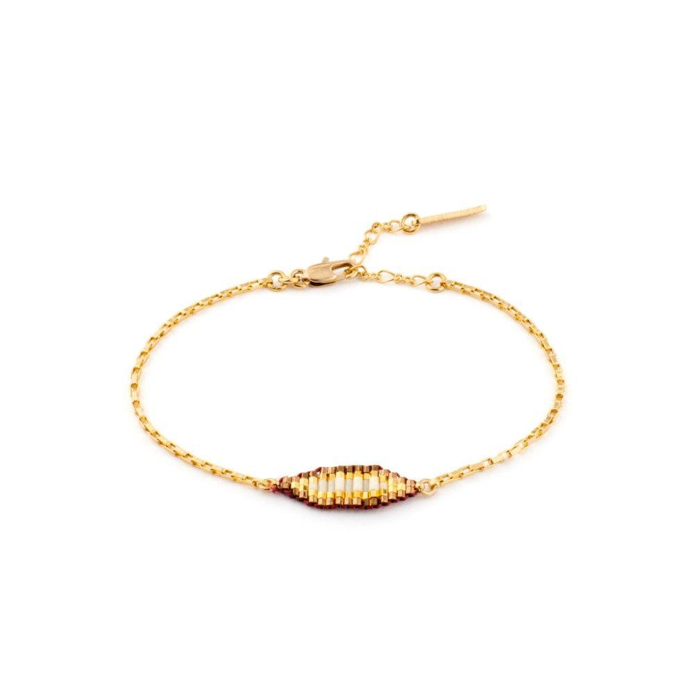 Minimaliste, ce bracelet tendance Satellite associe brillamment les couleurs de ses perles pour une mise en lumière évidente.