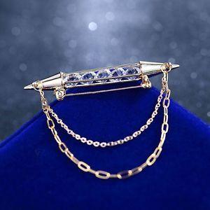 Gold Shirt Collar Pin Brooch Crystal Mens Tie Bar Clip Chain