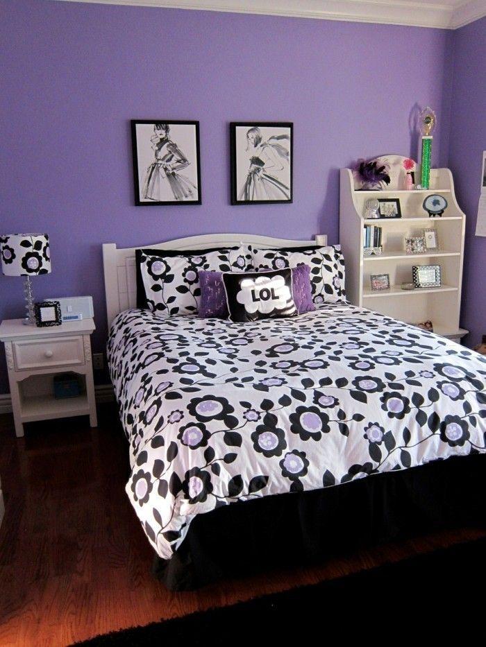 Die Farbe Lila schlafzimmer schwarz lila kombinieren teen girl