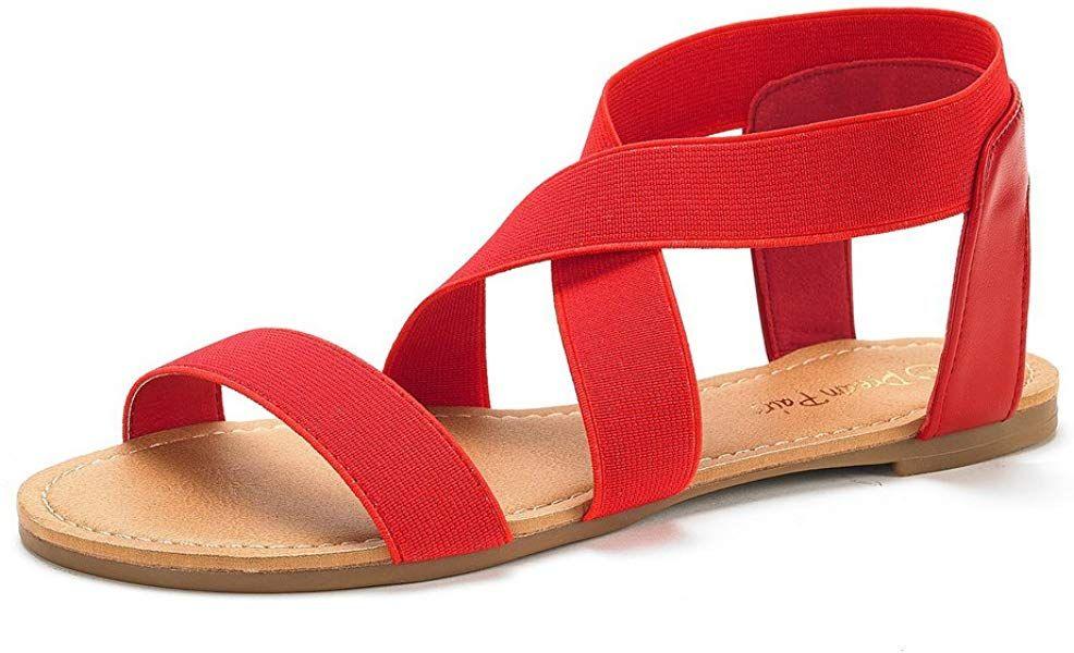 DREAM PAIRS Women Roman Summer Fashion Gladiator Design Ankle Strap Flat Sandals