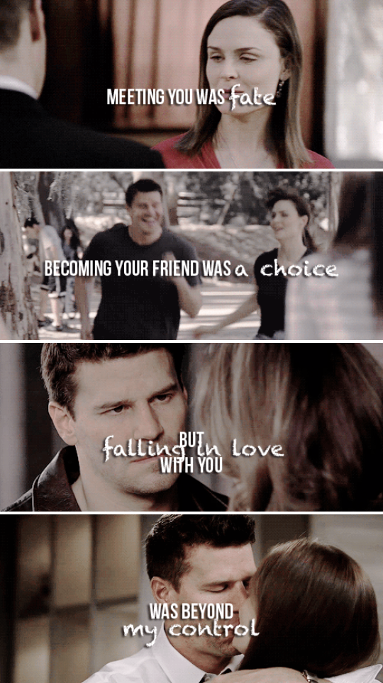 Meeting you was fate. Becoming your friend was a choice. But falling in love with you was beyond my control. #bones
